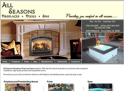 All Seasons Fireplaces Pools Spas website