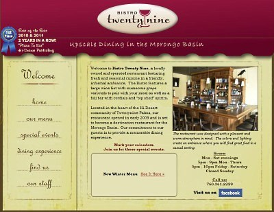 Bistro Twentynine website