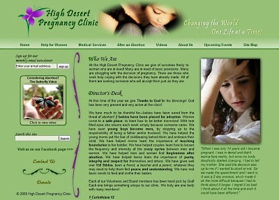 High Desert Pregnancy Clinic website