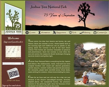 Joshua Tree National Park 75th Anniversary website