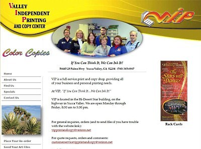 Valley Independent Printing V.I.P. website